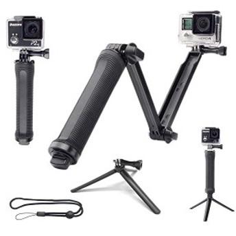 GoPro 3Way 自撮り棒 防水 hero5 hero6 hero7 アクションカメラ対応 軽量 ラバーグリップ アングル調整可能 三脚 一脚 ゴープロ ...