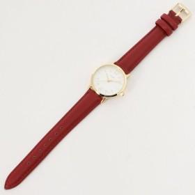 腕時計 レディース 文字盤が見やすい◎ベーシック腕時計 カラー 「レッド」