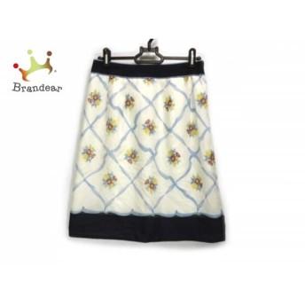 ジャスグリッティー JUSGLITTY スカート サイズ2 M レディース 白×ライトブルー×マルチ 花柄 スペシャル特価 20190622