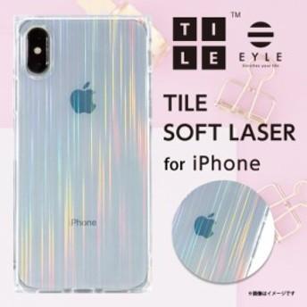 iPhone XS iPhone X ケース ソフトケース PEI08-TLS-LS【1619】 EYLE TILE スクエア型 耐衝撃 LASER ホログラム クリア アピロス