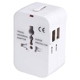 海外安全旅行充電器 コンパクトな コンセント 2USBポート変換プラグ 電源プラグ 旅行アダプター 壁の充電器 (ホワイト)
