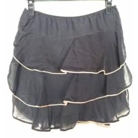 パオラ フラーニ PAOLA FRANI ミニスカート サイズXS  XS レディース 黒×ベージュ フリル【中古】