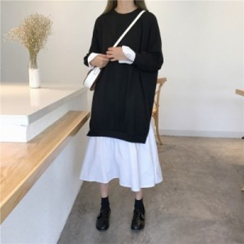 ロングニットワンピース 大きいサイズ レイヤードワンピース 春服 レディース ワンピース ニットワンピース 韓国 黒いワンピース サイド