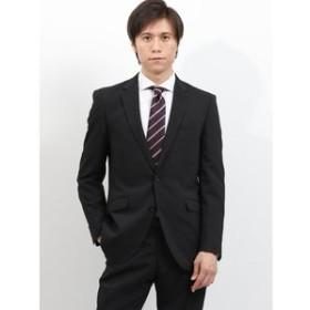 【TAKA-Q:スーツ・ネクタイ】ストレッチ洗えるスラックス ストライプ黒 2ピーススーツレギュラーフィット