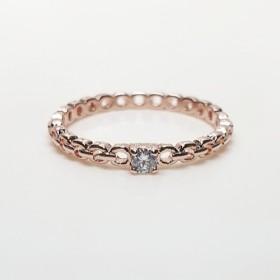 ラウンドチェーンデザインのczダイヤモンドリング