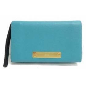【中古】クロエ CHLOE 財布 二つ折り レザー ブルー 水色 /OG13 レディース
