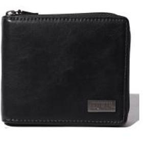 【EDWIN】エドウィンダークメタルプレートラウンドファスナー二つ折り財布