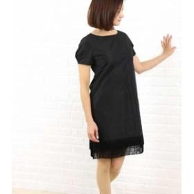 【購入ポイント10倍還元】Dress apt.(ドレスアプト) タフタ裾フリンジ 半袖ワンピース・16423・1991502