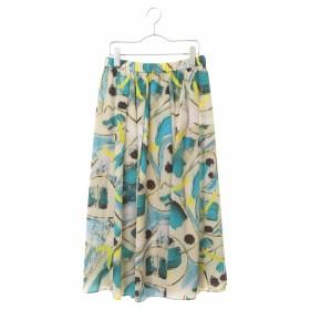 HIROKO BIS GRANDE 【洗濯機で洗える】ハケタッチプリント ギャザースカート その他 スカート,ネイビー