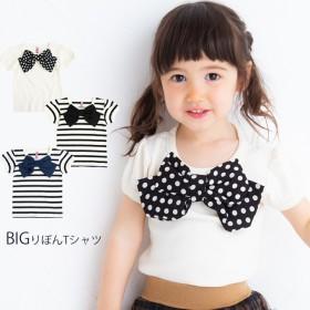 Tシャツ - KIDS MIO BIGリボン 半袖 Tシャツ MIOオリジナル パフスリーブ 《子供服キッズミオ》90cm 100cm 110cm