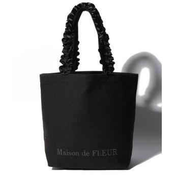 【10%OFF】 メゾンドフルール バスケットクロスフリルハンドルトートMバッグ レディース ブラック FREE 【Maison de FLEUR】 【タイムセール開催中】