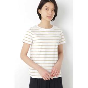 新きょう綿半袖Tシャツ シロ×イエロー1