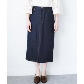 ハコ 大人のためのIラインシルエットのデニムタイトスカート by que made me レディース インディゴブルー 4 【haco!】