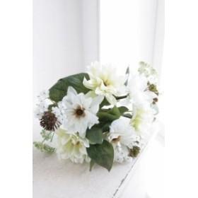 (まとめ買い)COVENT GARDEN ホワイト ダリア・ブーケ 造花 人工観葉植物 TT-15 〔×6〕