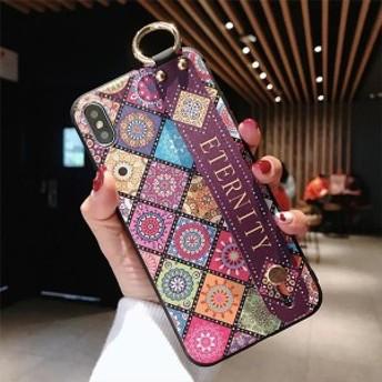 タイル柄スマホケース モロッコ テキスタイル iPhone case スマホケース 花柄 おとな 持ち手つき iphone6/6S/6p/6Sp/7/8/7p/8p/X/XS/XR/X