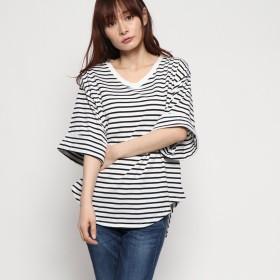 ジーラバイリュリュ GeeRA by RyuRyu ゆるシルエットVネックTシャツ (白系細ボーダー)