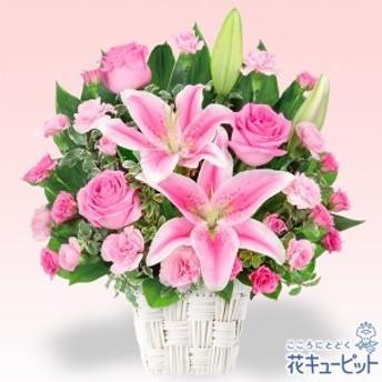 【お祝い】花キューピットのユリとピンクバラのアレンジメント