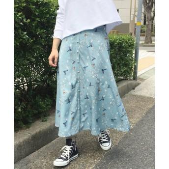 ハコ 〈KANA MATSUNAMIテキスタイル〉思い出づくりに一役買う とっておきフレアースカート レディース ブルー系その他 M 【haco!】