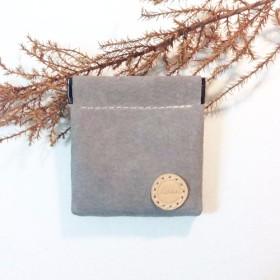 [Xuan Leatherが選択しました。レザー]破片小銭入れ【スクエアライトグレー】フルハンドメイドレザー財布