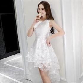 フィッシュテール ワンピース ドレス  おしゃれ 可憐 4色 ノースリーブ レース フリルワンピース フリル お呼ばれ 結婚式 パーティ