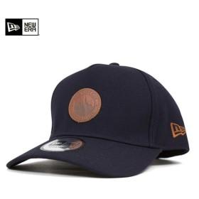 ニューエラ スナップバックキャップ レザー パッチ スカイライン ネイビー 帽子