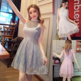 ホルターネックワンピース ホルターネックドレス ハイネックワンピース ハイネックドレス キュート ノースリーブ ハイネック ドレス