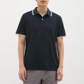(GU)GUドライポロシャツ(半袖)(ライン)CL NAVY M