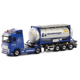 取寄せ 1/50 WSI 01-1782D Gentenaar Transport Volvo FH4 Globetrotter Swap Body Tank Container