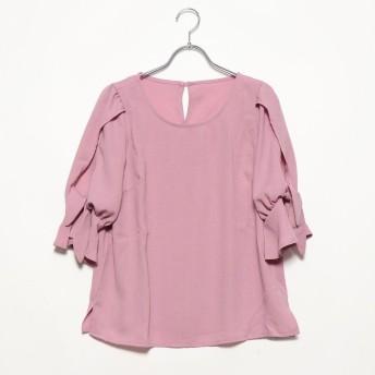 ジーラ GeeRA麻調素材リボンブラウス (ピンク)