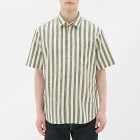 (GU)リネンブレンドシャツ(半袖)(ストライプ) OLIVE L