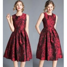 【送料無料】 パーティードレス ドレス 膝丈 ウェディングドレス ノースリーブ 大人 上品 Aライン 花柄 フォーマルドレス