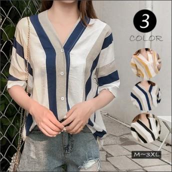 サラサラブラウス 韓国 夏の 新作ファッション 半袖ラウンドネックゆったりシャツ気質のシャツ Tシャツ