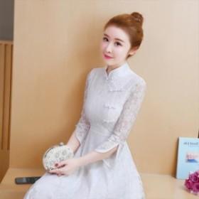 チャイナドレス ワンピース 2色 七分丈 ワンピ チャイナ服 ロング ワンピース 普段着 舞台 衣装 民族 中国風 お呼ばれ ハロウィーン