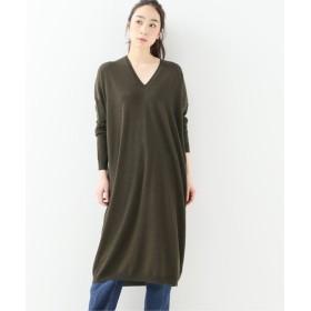 journal standard luxe 【6397/シックススリーナインセブン】 EXTRA FINE MERINO V NECK DRESS カーキ M