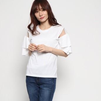 ジーラ GeeRA洗えるCOOLFIBER肩シアー素材トップス (オフホワイト)