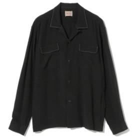 <MEN>STYLE EYES / サドルステッチ オープンカラー ボウリングシャツ メンズ カジュアルシャツ BLACK119 M