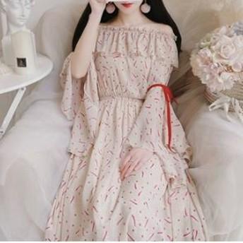 オフショルワンピース ワンピースドレス シフォン フレアスリーブ ベルスリーブ Aライン 花柄 リボン フリル エレガント フェミニン