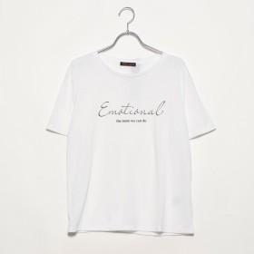 ジーラ GeeRA洗えるCOOLFIBERゆるロゴTシャツ (筆記体×白)