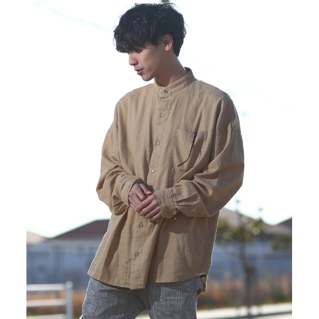 シャツ - improves 綿 麻 リネン シャツ メンズ 長袖 ビッグシルエット バンドカラーシャツ ノーカラー オーバーサイズ カジュアルシャツ きれいめカジュアル 長袖シャツ 無地 ビックシルエット ベージュ カーキ メンズファッション インプローブス improves