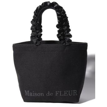 【10%OFF】 メゾンドフルール バスケットクロスフリルハンドルトートSバッグ レディース ブラック FREE 【Maison de FLEUR】 【タイムセール開催中】