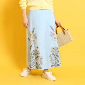 クチュール ブローチ Couture brooch フラワー刺しゅうロングスカート (ブルー)