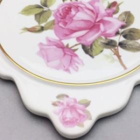 『クリックポスト送料無料!』高級感のある陶器製鍋敷き・パンマット 'ピンクローズ/3R'ティータイムが華やぎます♪ 薔薇 薔薇雑貨