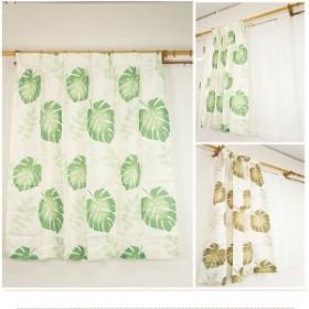 8種類から選べる デザインカーテン ミラーレースセット / 4枚組 4枚セット 100×200cm グリーン / モンステラ柄