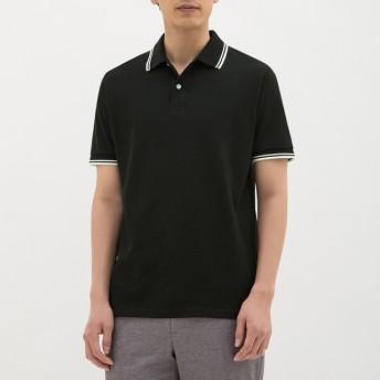 (GU)GUドライポロシャツ(半袖)(ライン)CL BLACK L