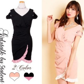 【Lサイズ】小悪魔的カラーリング★リッチなブラックxピンク♪フルリがかわいい仕掛けいっぱいのミニドレス!オケージョンワンピース