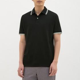 (GU)GUドライポロシャツ(半袖)(ライン)CL BLACK S
