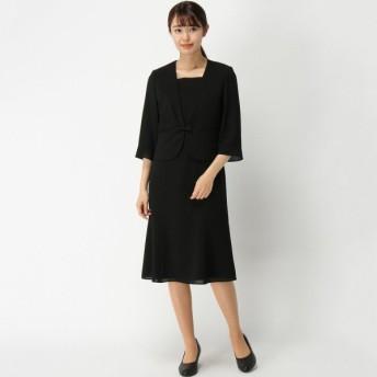 フォーマル レディース 喪服 礼服 ブラックフォーマル スーツ 洗える◎Vカラーブラックフォーマルワンピース 「ブラック」