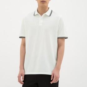 (GU)GUドライポロシャツ(半袖)(ライン)CL WHITE M