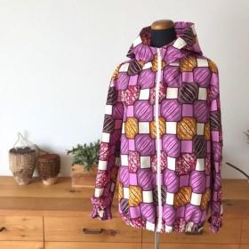 <Sweet African>アフリカ生地のzip-upパーカー<Pink Blocks>for Woman