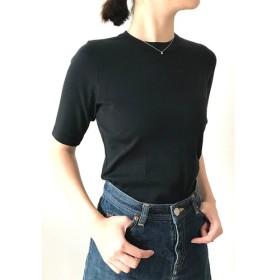 日本製オーガニックコットン 形にこだわった大人の4分袖無地Tシャツ 黒【サイズ展開有】